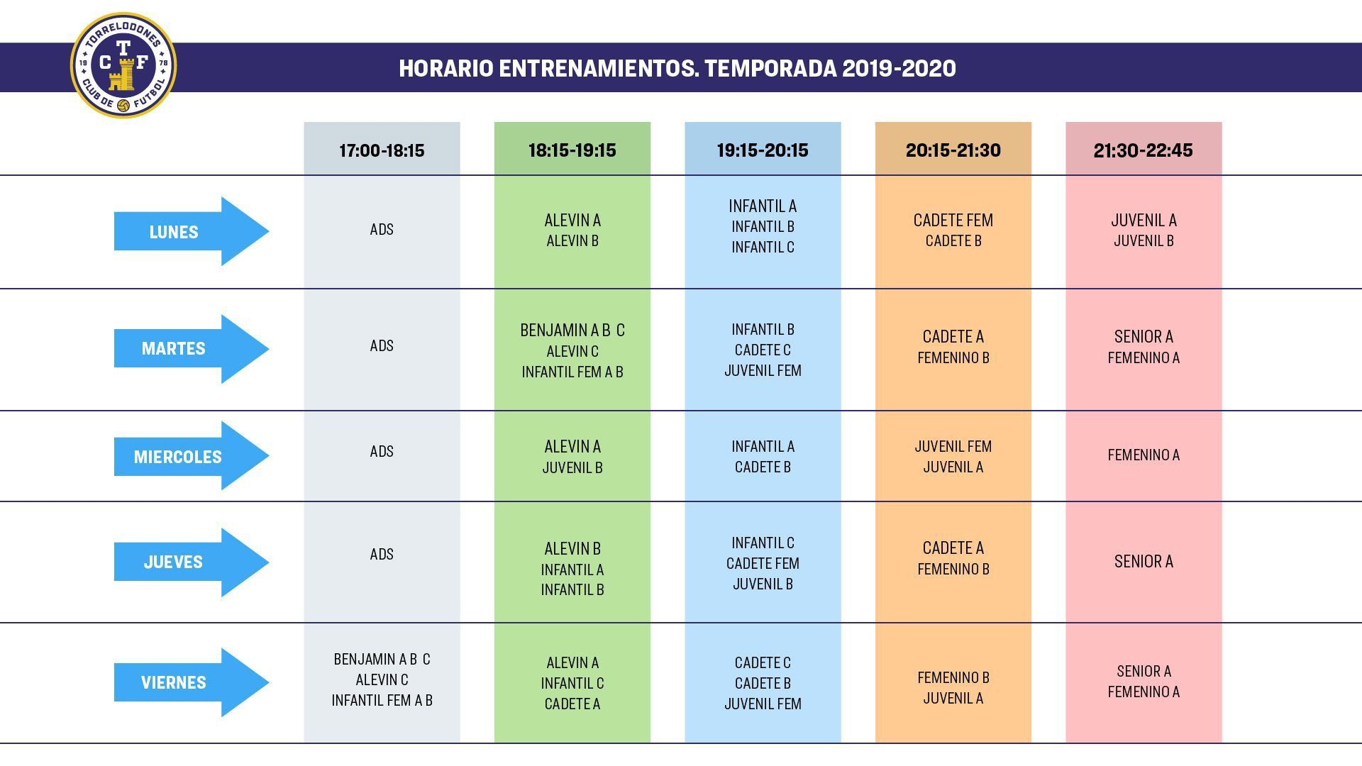 Horarios Entrenamientos Temporada 2019 / 2020